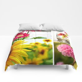 Colorful Flower Collage Comforters