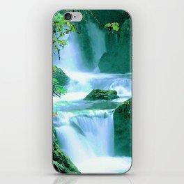 Serene Waterfall in Blue and Green iPhone Skin