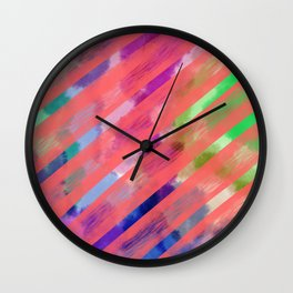 Ribbon Party - Pink and Rainbow Stripe Palette Wall Clock