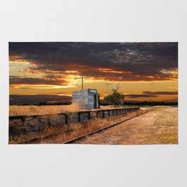 Sunset at the Coonawarra Rail Station Rug