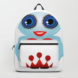 Friendly owl with red crown and heart Backpack