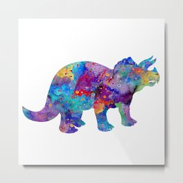 Dinosaur Triceratops Art Print Wild Animals Nursery Decor Kids Room Watercolor Pint Colorful Art Metal Print