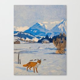 Jugend-Munich illustrated weekly for art and life - 1906 Cold Climate Snow Mountains Fox Canvas Print