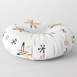 Atomic Era Space Age Orange Brown White Floor Pillow