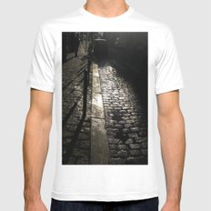 Street In Paris White Mens Fitted Tee MEDIUM