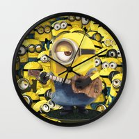 minions Wall Clocks featuring MINIONS by DisPrints