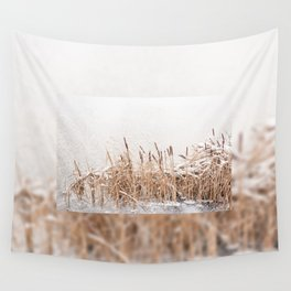 Typha reeds at frozen lake Wall Tapestry
