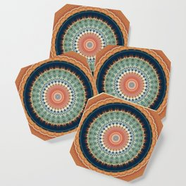 Dark Indigo Blue Orange Mandala Coaster