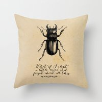 kafka Throw Pillows featuring The Metamorphosis - Franz Kafka by pithyPENNY