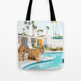Tigers at the Pool Tote Bag