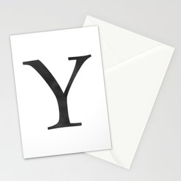 Letter Y Initial Monogram Black and White Stationery Cards