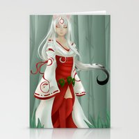 okami Stationery Cards featuring Okami - Amaterasu by Rinneii