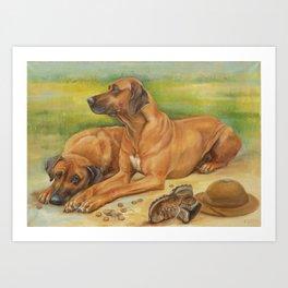 Rhodesian Ridgeback Dog portrait in scenic landscape Painting Art Print