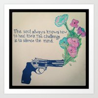 Flowers and gun Art Print