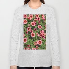 Red Pink Flowers Long Sleeve T-shirt