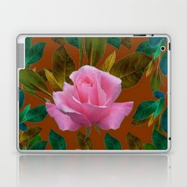 LEAFY PINK ROSE GARDEN & COFFEE BROWN ART Laptop & iPad Skin