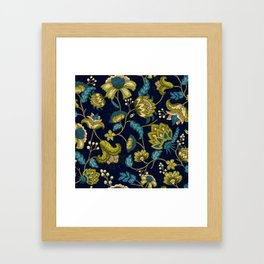Green and Blue Indian Floral in Dark Blue Framed Art Print