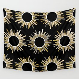 Art Deco Starburst in Black Wall Tapestry