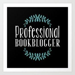 Professional Bookblogger - Black w Blue Art Print