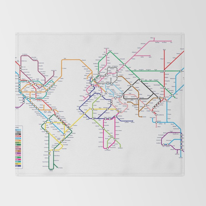 World Metro Subway Map Throw Blanket By Artpause Society6