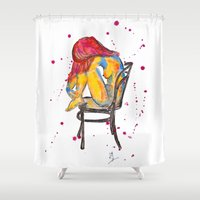 selena gomez Shower Curtains featuring selena by Laurie Art Gallery