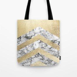 Stylish black white faux gold elegant geometrical marble Tote Bag