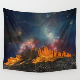 Sacred Mountains 2 (galaxy sky) Wall Tapestry
