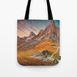 Faux Wood Majestic Sunset & Alpine Mountain Rural Landscape Photograph Tote Bag