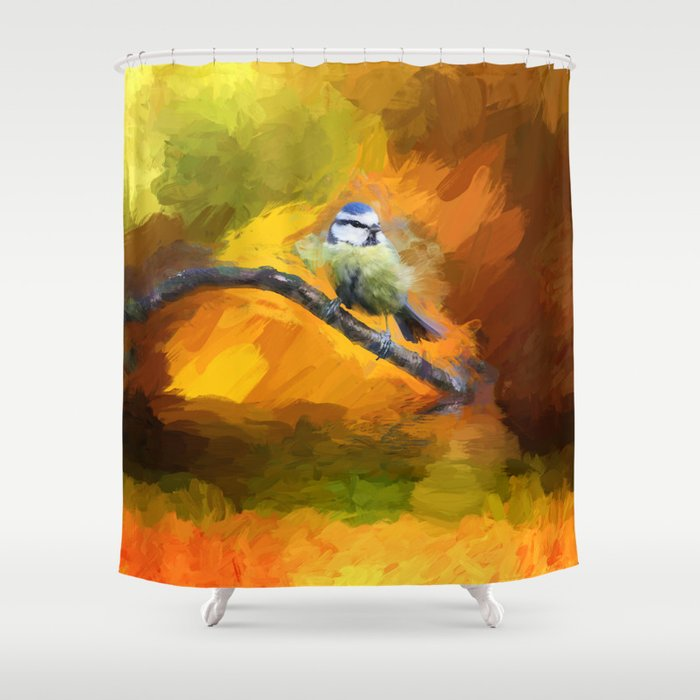 Tit Bird Abstract Painting Shower Curtain