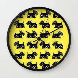 Scottie Dogs Yellow and Black Pattern Wall Clock