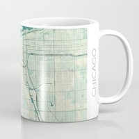 chicago map Mugs featuring Chicago Map Blue Vintage by City Art Posters