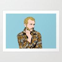 bon iver Art Prints featuring bon iver by illustratemyphoto