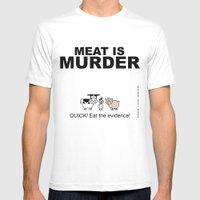 MEAT IS (tasty) MURDER MEDIUM Mens Fitted Tee White
