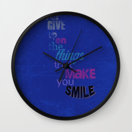 """Never Give Up..."" Inspirational Poster  Wall Clock"