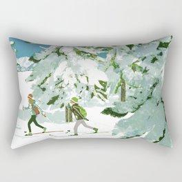 Cross Country Skiing Rectangular Pillow