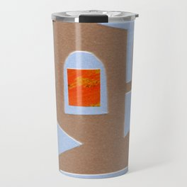 Symbolic Shapes in Light Blue Collage Travel Mug