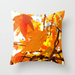 Autumn Leaves in New York City Throw Pillow