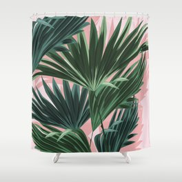 Pink and green palm trees Shower Curtain