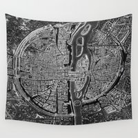 map Wall Tapestries featuring Paris map by Le petit Archiviste
