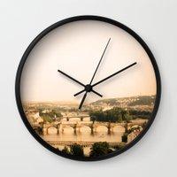 prague Wall Clocks featuring Prague by rebecca lilianne wichmann
