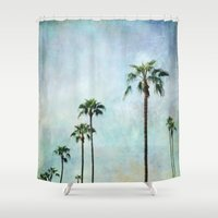 palm trees Shower Curtains featuring Palm trees by Sylvia Cook Photography