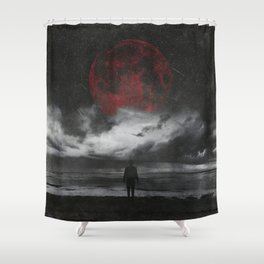 retreat - surreal and dark seascape with red moon Shower Curtain