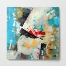 Reading a book: Abstract Acrylic Painting with a red highlight Metal Print