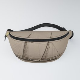 Wooden Tall ship sepia finish Fanny Pack