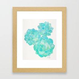 Rosette Succulents – Turquoise Palette Framed Art Print