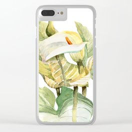 Watercolor hand painted illustration with callas in gentle tone Clear iPhone Case