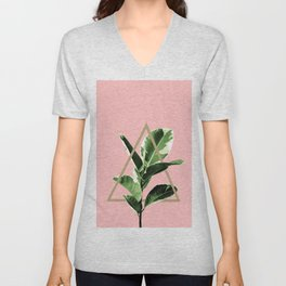 Ficus Elastica Geo Finesse #1 #tropical #foliage #decor #art #society6 Unisex V-Neck