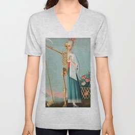 Life and Death Vintage Oil Painting Unisex V-Neck