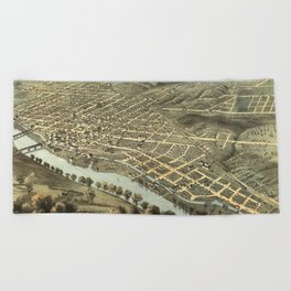 Vintage Pictorial Map of Lafayette Indiana (1868) Beach Towel