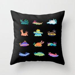 Sea slug - black Throw Pillow